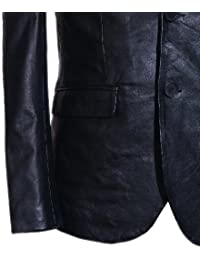 Slim Jim schwarz Men's Smart Schaf klassischer Leder-Blazer