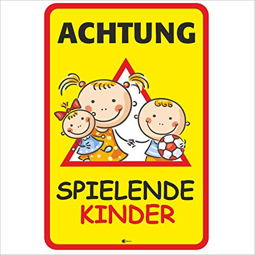 ng spielende Kinder I Größe 40 x 60 cm I Straßen-Warnschild Spielstraße Spielplatz I Vorsicht Kids langsam fahren I hin_405 ()