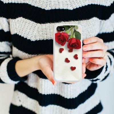 Apple iPhone 5s Housse étui coque protection Rose Roses and Hearts C½ur Housse en silicone blanc
