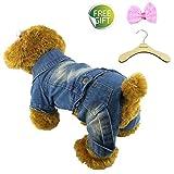 Newtensina Moda Animale Domestico Denim Blue Jeans Cappotti per Cani da Jeans per Cani - Includi una clip di capelli dentellare sveglie & Un gancio