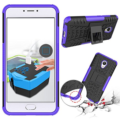 Chevron Tough Hybrid Armor Back Cover Case with Kickstand for Meizu M3 Note (Purple)  available at amazon for Rs.125