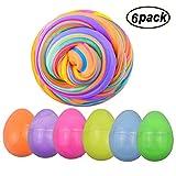 Swallowzy Fluffy Egg Slime 12 oz Soft Slime Kit Non Collant sans Borax Odeur parfumée Stress Relief Jouet pour Les Enfants Adultes (Paquet de 6)