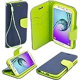 Etui bicolore Fancy Diary Book de Moozy® avec support silicone & dragonne pour Samsung Galaxy A5 (2016) / A510, Bleue / Vert clair