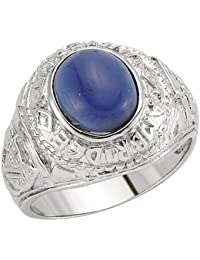 Jewelco London Men's Rhodium Plated Sterling Silver Blue Oval Cubic Zirconia College Ring