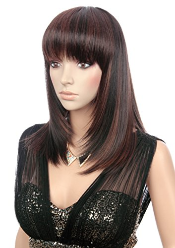 Prettyland C721 50cm Long Straight Wig With Bangs Blended In Black
