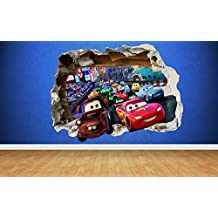 Cars 3D Effekt Smashed eine art Wandaufkleber, style Mator Lightning Mcqueen Kinderzimmer, multi, Large: 77cm x 58cm
