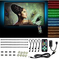 USB Tira LED Cinta de Luz Multicolor RGB Contraluz de TV Iluminación Decorativa para Dormitorio GabinetComputadora Laptop, Impermeable 4*50cm