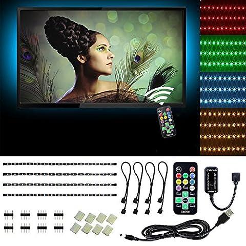 USB LED Streifen,Cadrim 4 x 50cm Farbwechsel TV Hintergrund Monitor Beleuchtung,Wasserdicht 2M 5050 SMD LED Lichtleiste,USB RGB Stimmungsbeleuchtung