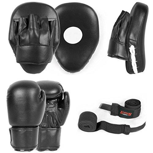FAIRWAY UK Plain curvado boxeo almohadillas enfoque guantes de boxeo Set gancho & Jabs Junior Senior Guantes De Boxeo Mano Wraps MMA Kick formación, negro, 230 ml