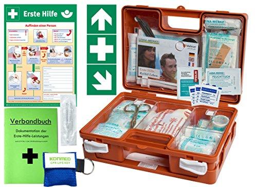 "Erste-Hilfe-Koffer Quick -Komplettpaket- mit""Notfallbeatmungshilfe"" für Betriebe DIN/EN 13157 + DIN 13164 - inkl. 1.Hilfe Aufkleber & Aushang"