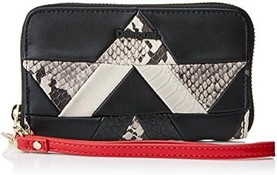 Desigual Mone_snake Patch Mini Zip, Carteras Mujer, Negro, 2x9x15 cm (B x H T)