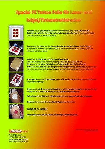 Preisvergleich Produktbild 2 Blatt Special FX Tattoofolien für Inkjet/Tintenstrahldrucker DIN A4