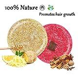 2 pièces solid shampoo pour cheveux, 100% shampooing bar nature bio [sans sulfate] extreme repousse cheveux pour femmes hommes enfant (Cannelle Et Gingembre)