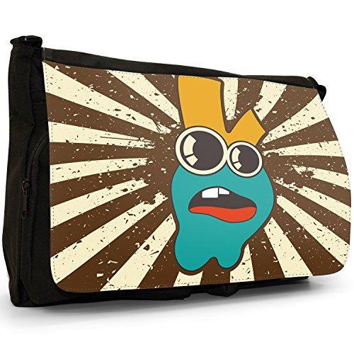 """Monster-Coniglietti stilizzati """", coniglietto, colore: nero, Borsa Messenger-Borsa a tracolla in tela, borsa per Laptop, scuola Nero (Big Eyed Rabbit Monster)"""