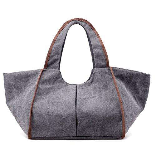 Mode Stofftaschen Handtaschen Schultertaschen Einfach Wild Freizeit Reisetaschen Damen Große Kapazität Handtasche Kragen FashionGray
