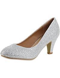 topschuhe24 Zapatos de Vestir de Tela Para Mujer, Color Dorado, Talla 36 EU