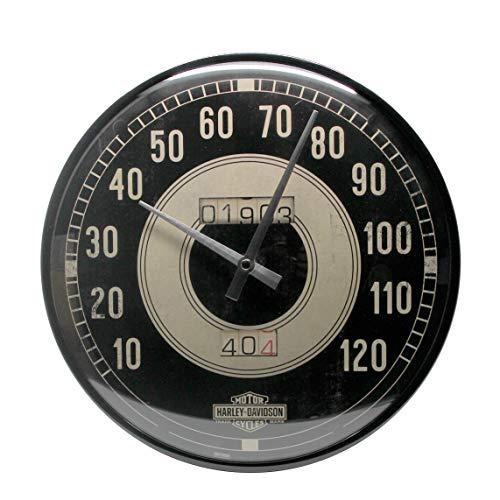Nostalgic-Art 51084, Harley-Davidson Tacho, Wanduhr 31cm Reloj de Pared, Metal, carbón, 31 x 31 x 5,5 cm