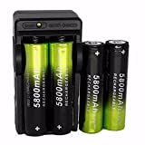 HCFKJ 4Pcs Rechargeable 5800Mah Li-Ion 18650 3.7V Battery & Dual Smart Charger