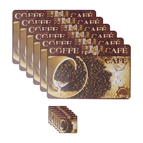 Glassiano Coffee beans printed set of 6 table mats and coasters