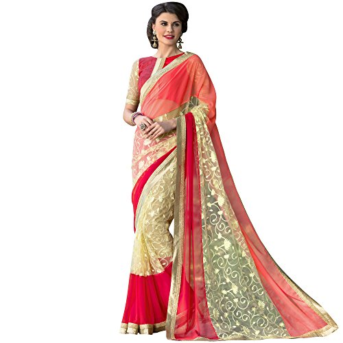 Hypnotex Women's Orange Net + Gerogette Embroidered Saree with Blouse  available at amazon for Rs.1800