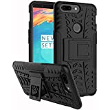 CASSIEY Heavy Duty Shockproof Military Grade Armor Dual Protection Layer Hybrid Kick stand Back Cover Case for One Plus 5T- Black