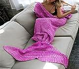 Knitting Pattern Mermaid Tail Blanket by Moens, Soft and Warm Mermaid Tails Sleeping Bag Air Conditioning Blanket Slumber Bag Cute Mermaid Gift 180X90cm ( 70.8X35.4 inch ) (Purple Pink-Adult)