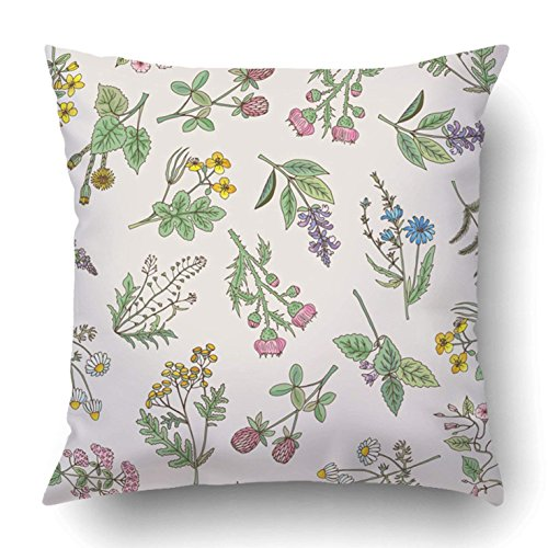 Copricuscini e federe black country of various herbs and flowers white leaf vintage anise bunch 18 x 18 inch square with hidden zipper polyester home sofa cushion decorative pillowcase