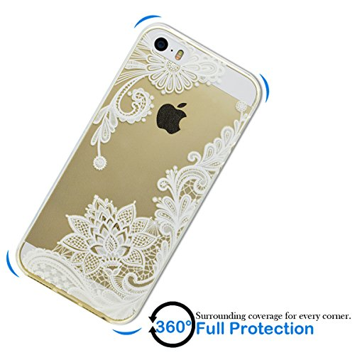 Coque iPhone SE, Coque iPhone 5S, SpiritSun Etui Coque TPU Slim Bumper pour Apple iPhone SE / 5 / 5S Souple Housse de Protection Flexible Soft Case Cas Couverture Anti Choc Mince Légère Transparente S Lotus Fleur Blanc