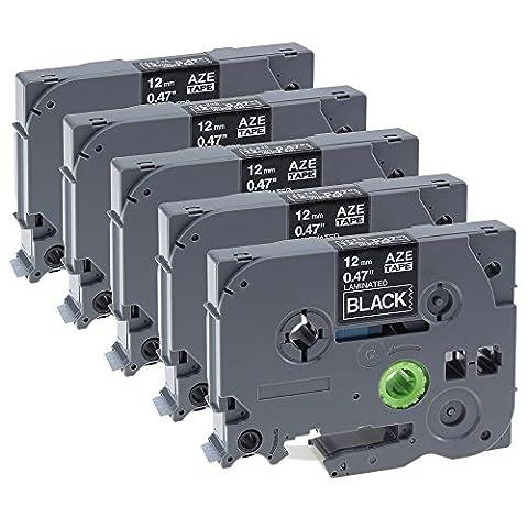 Lot de 5 Ruban P touch TZe-335 / TZ-335 / Blanc sur Noir Ruban Cassette Laminé Cartouches Étiquettes / 12mm x 8m / Compatible pour Brother P-Touch 1000W 1010 1090 1830VP 2030VP 2100VP 2430PC 2470 2730VP 7100 VP7600VP H100R H300 D200VP
