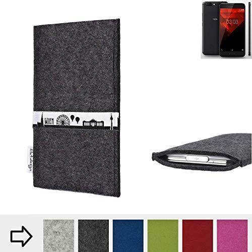 flat.design für NOA H10le Schutztasche Handy Hülle Skyline mit Webband Wien - Maßanfertigung der Schutzhülle Handy Tasche aus 100% Wollfilz (anthrazit) für NOA H10le