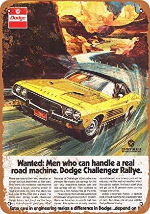 Home Decor 8 X 12 Metal Sign 1973 Dodge Challenger Rallye Vintage Look 2 ()