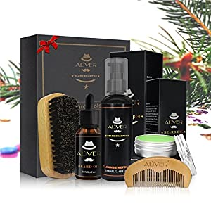 Bartpflege-Set für Herren – Bartpflege mit Bartwaschmittel/Shampoo + Schnurrbartbalsam + Bartöl + Bartbürste + Bartkamm Bartschönheitsschere