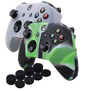 YoRHa Silikon Hülle Abdeckungs Haut Kasten für Microsoft Xbox One X & Xbox One S controller x 2 (Camouflage grün&weiß) Mit PRO aufsätze thumb grips x 8
