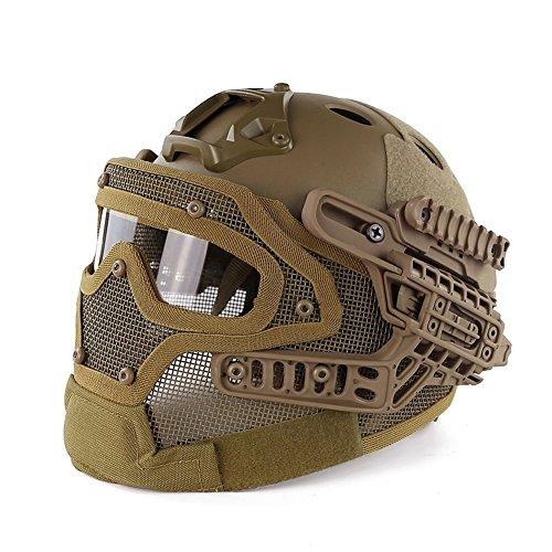 Volles Gesichts-Schutzbrillen-System-taktischer schützender Schablonen-Sturzhelm mit Visier Airsoft Paintball-Welt Shopping4U (Bräune)