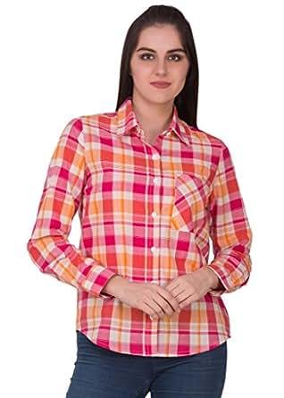 Crosstitch Women's Orange & Pink Checked Cotton Shirt