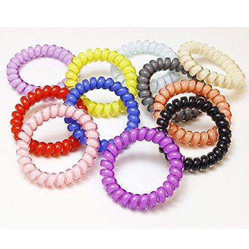 Utsunomiya® 10 Set Top Qualité, Super beau bonbons couleur, Taille élastique Câble téléphonique élastique à cheveux spirale en plastique, Téléphone, cheveux en caoutchouc cheveux, bijoux bracelet