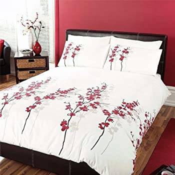 Oriental Flower' King Duvet Cover Set in Red, Includes: 1x King ... : oriental quilt cover - Adamdwight.com