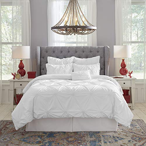 PC Knotted Pintuck Queen Comforter Set, Twin, White ()