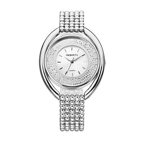 JSDDE Damen Elegant Armabnduhr Japanische-Quarzwerk Kugel Legireung Uhrenarmband Uhr Strass Dial Analog Quarzuhr,Silber