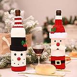 DUBAOBAO Weihnachten Tischdekoration 10Pcs, Weihnachtsmann Und Schneemann Tisch Abendessen Neuheit Dekoriert Home Party Dekoration, Weihnachten Stuhl Dekoration, 1 Stück Weinflasche Set, - 3