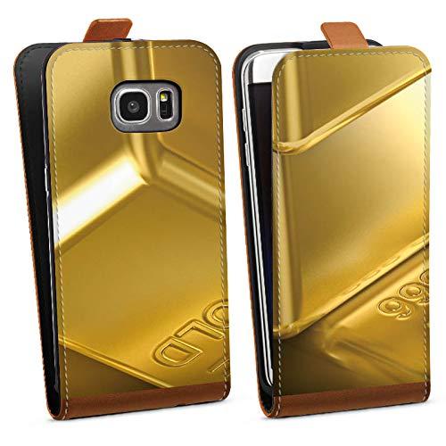 DeinDesign Tasche Hülle Flip Case kompatibel mit Samsung Galaxy S7 Edge Goldbarren Gold Barren