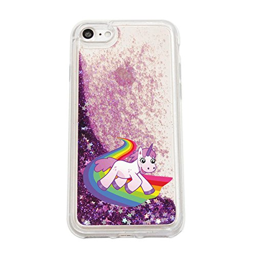finoo | iPhone 7 Plus Flüssige Liquid Lila Glitzer Bling Bling Handy-Hülle | Rundum Silikon Schutz-hülle + Muster | Weicher TPU Bumper Case Cover | Einhorn 02 Einhorn rutscht