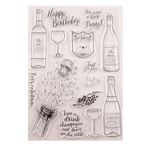 Hothap Silikonstempel Set - Alles Gute zum Geburtstag - Clear Stamps - Stempel - Transparent - Vatertags Muttertags Abschluss Jahreszeit Geschenk