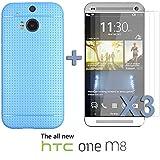 OnlineBestDigital - Colorful Hard Back Case for HTC One M8 - Bleu avec 3 Film de Protection