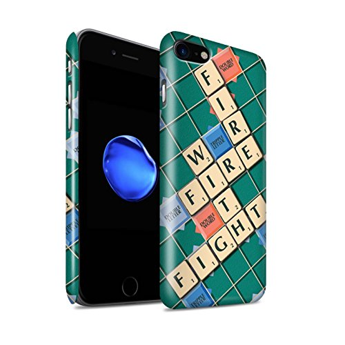 STUFF4 Glanz Snap-On Hülle / Case für Apple iPhone 8 / Übung den Meister Muster / Scrabble Worte Kollektion Kampf Feuer