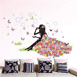 EWQHD Feenhafte Mädchen-Wand-Aufkleber-Vinyl Diy Bunte Schmetterlinge Bubbles Wall Art Für Kind-Raum-Baby-Schlafzimmer-Dekoration