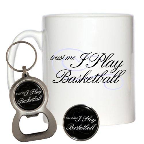 m Basketball Tasse 10oz, & Brosche Schlüsselanhänger Flaschenöffner (Basketball-brosche)