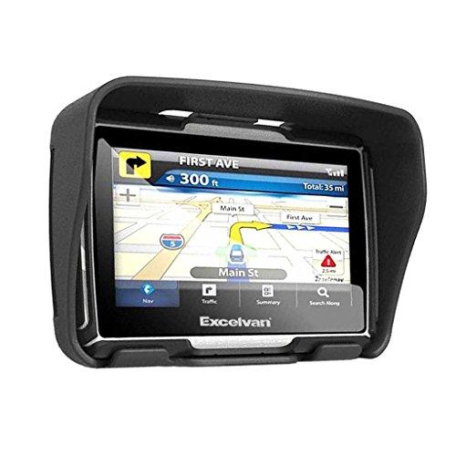 Excelvan W4 - Motorad Navigationsgerät mit 4,3 Zoll Display ( Auto Navigationsgerät, GPS, Wasserdicht IPX7, 8GB, Bluetooth, SAT, NAV, für Motorad, Auto ) (Schwarz)