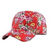 SanKidv Frauen Baseballmütze Hysteresen Hut Hip Hop Einstellbar Damen Blumenmuster Baseballcap Sonnenhut Caps Sonne Geschützter Bunt Blume Drucken Baseball Hüte (Rot)