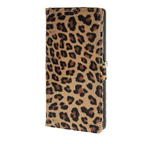 MOONCASE Hülle für Sony Xperia Z5 Leopard Style Leder Schutzhülle Flip Etui Tasche Schale Case Cover Leopard